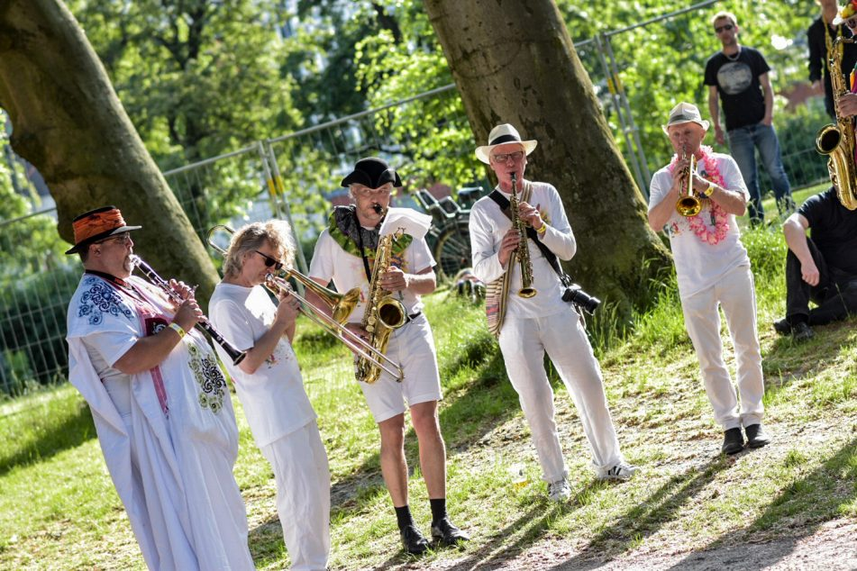 musicians playing wind instruments at the Copenhagen Carnival
