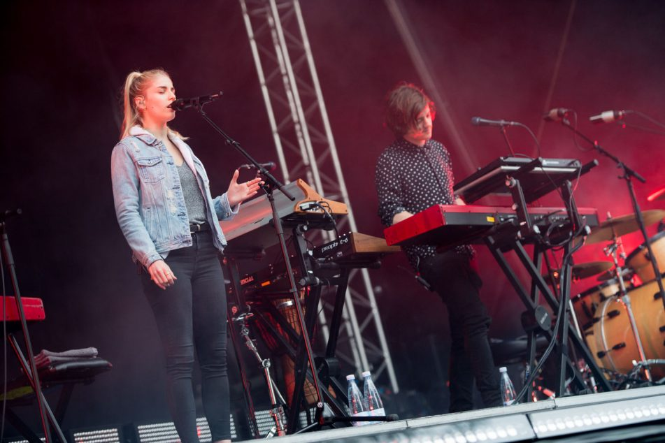 British musicians London Grammar perform on the Lowland Stage at the Heartland Festival